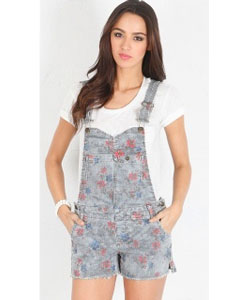 Printed Railroad Stripe Boyfriend Shortall in Americana Combo