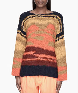 Chloe Tan Colorblocked Knit Silk Sweater