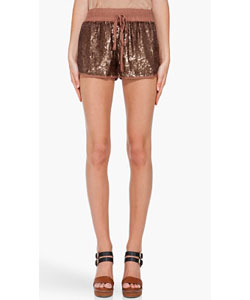Sequin silk shorts