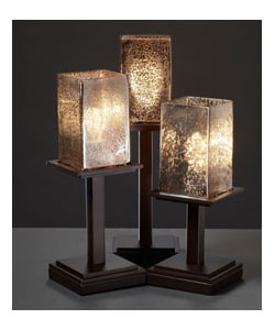 Three-Light Dark Bronze Table Lamp