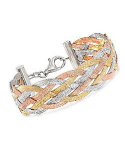 Italian Tri-Colored Sterling Silver Reversible Braid Bracelet