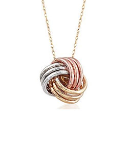 14kt Tri-Colored Gold Love Knot Pendant Necklace