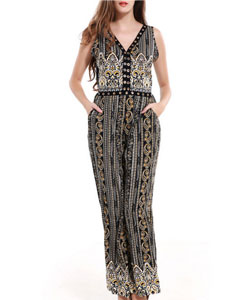 Tribal Printed V-Neck Pocket Back Hole Wide-Leg Jumpsuit