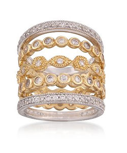 Set of Five 2.80 ct. t.w. CZ Eternity Rings in Two-Tone