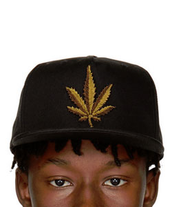 Black Embroidered Weed Cap