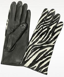 Zebra Pony Hair and Italian Nappa Leather Gloves